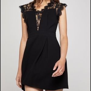 BCBGeneration Lace-Back Black Pleated Dress